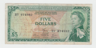 "East Caribbean 5 Dollars 1965 ""aVF"" Banknote P 14e 14 E - Caraïbes Orientales"