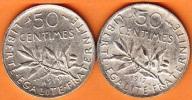 DEUX PIECES MONNAIE 50 CENTIMES 1919-1917  - GRAVEUR O. ROTY - ARGENT  - 3ième REPUBLIQUE 1871 - 1940 VOIR LES SCANS... - France