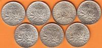 SEPT PIECES MONNAIE 50 CENTIMES 1919 - GRAVEUR O. ROTY - ARGENT - 3ième REPUBLIQUE 1871 - 1940 VOIR LES SCANS... - France