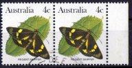 Australia 1983 Butterflies 4c Regent Skipper Used Pair  SG 783 - - 1980-89 Elizabeth II