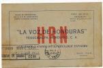 La Voz De Honduras  Tegucigalpa Rafael Ferrari Gerente    Circulada A Cuba 1933 - Honduras