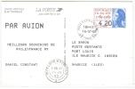 REF LBL6 - LIBERTE DE GANDON CARTE ELECTRONIQUE A DESTINATION DE L'ILE MAURICE TARIF 4f20 CACHET D'ARRIVEE - Postal Stamped Stationery