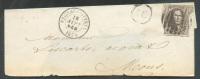 N°10A - Médaillon 10 Centimes Brun, Obl 8 Barres P.161 S/ (incomplète) De CHIEVRES-ATTRE Le 18 Septembre 1859 + Boîte AC - 1858-1862 Medallions (9/12)