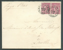 N°46(2) - 10 Cent. Rouge (paire) Obl. Sc BRUXELLES 5 S/L. Du 5 Mars 1888 Vers Zwolle (Pays-Bas) - 7095 - 1884-1891 Léopold II