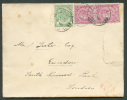 N°45-46(2) - 5 Cent. Vert + 10 Cent. Rouge  Obl. Sc BRUXELLES (Lux.)  S/L. (déchirée) Du 31 Déc. 1893 Vers Londres -  70 - 1884-1891 Léopold II