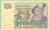 SUEDE - SWEDEN - 5 Kronor 1977 - Pick 51 C - Suède