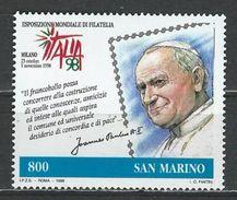 San Marino. Scott # 1430 MNH. Italia 98 Pope John Paul Ll. Joint Issue With Italy & Vatican 1998 - Gemeinschaftsausgaben
