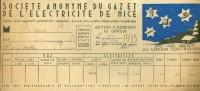 Nice - Ste. Du GAZ Et De L'ÉLECTRICITÉ De NICE - Quittance Novembre 1935 - France