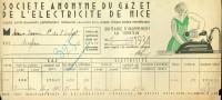 Nice - Ste. Du GAZ Et De L'ÉLECTRICITÉ De NICE - Quittance Juillet 1934 - France