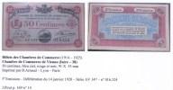 Billets Des Chambres De Commerce, Vienne (38-Isère), Dauphiné - Chambre De Commerce