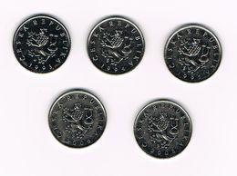 TSJECHIE  5 X 1 KORUN  1993/94/95 + 2006/2008 - Tchéquie
