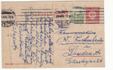 Hungary 1919 Stationery Postcard 10 F. & Add. 5 F. Stamp; From Budapest To Dresden; Machine Mark (f182) - Ungheria