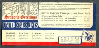 Vloeipapier - Buvard - United States Lines - Seasons Greetings New York - Transports