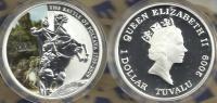 TUVALU $1 BATTLE OF POLTAVA SWEDEN-RUSSIA COLOURED FRONT QEII BACK 2009 SILVER PROOF READ DESCRIPTION CAREFULLY !!! - Tuvalu