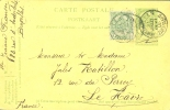 België Belgique Carte-postale 2 E Vert Indépendance 1905 Obl. Bruxelles Départ Vers Le Havre France 31 Juillet 1905 - Entiers Postaux
