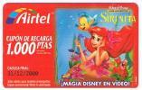 SPAGNA (SPAIN) - AIRTEL  (RECHARGE GSM) -  W. DISNEY: LA SIRENITA (cupon Promocional)      - USED ° -  RIF. 4218 - Spain