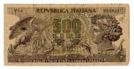 BILLET ITALIE - P.93a - 1966 - 500 LIRES - ARETHUSE - AIGLE CHASSANT UN SERPENT - DAUPHIN - [ 2] 1946-… : République