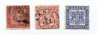 - Baden, Postveren, - 3 Timbres Très Ancien De 3,6 Et 9 Kreuzer - Petit Prix, Grosse Côte, Scans Et Détails. - Baden