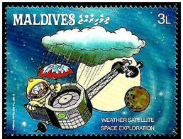 Maldivas 1988 Scott 1273 Sello ** Walt Disney Espacio Exploración Espacial Donald Y Satelite Metereologico 3L Maldives - Disney