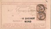 Lettre - NORD - LE QUESNOY Càd T.16/paire N°54 - 1876 - SUP Et RR - 1871-1875 Cérès