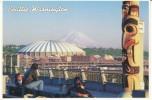 Seattle WA Washington, Kingdome Stadium, Mt. Rainier Seen From Pike Place Market On C1980s Vintage Postcard - Seattle