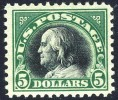 US #524 XF Mint  Hinged $5 Franklin From 1918 - Unused Stamps
