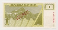 SLOVENIE / SLOVENIA - 1 TOLARJEV 1990 - SPECIMEN UNC / Pick 2s - Slovénie