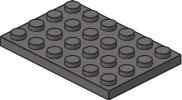 Lego 3032  Plaque - Plat 4 X 6  DkStone - Lego System