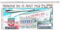 Billets De Loterie...   LE CONCORDE LA DEPECHE 15 AOUT  1968 ......LO173 - Vieux Papiers