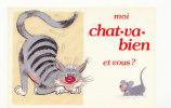"""Animaux Humoristiques. Chat Et Souris. """"Moi Chat-va-bien Et Vous?"""" - Katzen"""