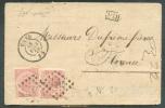 N°20(2) - 40 Centimes Rose (x2) Obl. LP.141 S/L. De GAND Le 18 Février 1870 Vers Florence (Italie) Via (verso) Italie AM - 1865-1866 Profiel Links