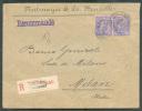 N°48(2) - 25 Cent. Bleu S/rose (x2) Obl. Sc St-JOSSE-ten-NOODE (BRUX.) Av. De L´Astronomie) S/L. Recommandée Du 2-01-189 - 1884-1891 Léopold II