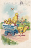 TUCK 111, Loving Easter Greetings, Chick Pulled Cart With  An Egg Shell Holding Chicks, Chick Driver, PU-1908 - Pâques