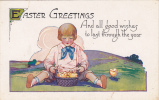 Easter Greetings, And All Good Wishes To Last Through The Year, Boy With Basket Of Chicks, 10-20s - Pâques