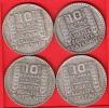 QUATRE PIECES MONNAIE 10 FRANCS ARGENT TURIN 1932 - 3ième REPUBLIQUE 1871 - 1940 VOIR LES SCANS... - France
