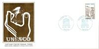 Grande Env Fdc France+feuille D´or,26/10/85 Paris, N°88,unesco, Patrimoine Universel,théatre Romain De Carthage,tunisie - 1980-1989