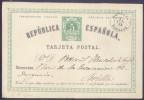 España 1873 Ed 2v Matrona Y Cifra, Tarjeta De Vuelta, CIRCULADA DE OLIVENZA, BADAJOZ A SEVILLA º - Interi Postali
