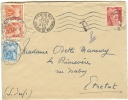 REF LBON4 - LETTRE PARIS / ETRETAT 23/9/1948 TAXEE A L´ARRIVEE 8f - 1859-1955 Covers & Documents