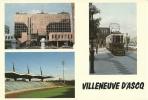 CPSM De VILLENEUVE D'ASCQ (59650) : La Mairie - Le Stadium - Un Vieux Tramway. - Villeneuve D'Ascq