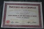 Papeteries De La Chapelle . 1956 Usine à La Chapelle -Saint-Bonnet (Saint-Etienne-du-Rouvray SCRIPOPHILIE - Industrie