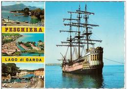 LAGO DI GARDA-PESCHIERA-VOILIER A TROIS MATS-Bateau-battello-boat-marine-navy - Segelboote