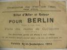 Chemin De Fer De L'est, Billet D' Aller Et Retour Pour Berlin. - Chemins De Fer