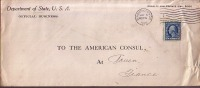 Très Rare Enveloppe  Of  Departement Of Stade U.S.A. WASHINGTON  Vers American Consul à Rouen (France). 3 May  1916. - Etats-Unis