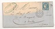 """Lettre - Hte GARONNE - TOULOUSE - Losange """"C B"""" /N°45f Type II Report 2 - 1871 - 1870 Ausgabe Bordeaux"""
