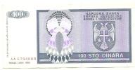 REPUBLIKA SRPSKA - 100 DIN - 1992. - Bosnia Erzegovina