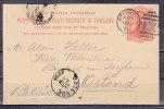 Ganzsache P 26 Koenigin Viktoria, Brighton Nach Ostende, AK-Stempel 1894 (40536) - Briefe U. Dokumente