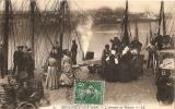 "62 SUPERBE CPA 1917 BOULOGNE S/ MER  ""L´ARRIVEE DU POISSON"" DOS VERT - Fischerei"