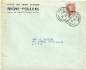 RHONE - Dépt N° 69 = SAINT FONS 1942 =  CACHET MANUEL A4 + En-tête RHONE-POULENC - Marcophilie (Lettres)