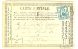 REF LVP7 - FRANCE CPO MOD. 25 AVEC SAGE 10c TYPE I -   PARIS POUR VILLE DECEMBRE 1876 - Entiers Postaux