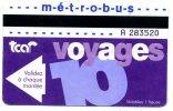 76 ROUEN ET AGGLO  TICKET TRANSPORT  10 VOYAGES VOIR SCANNER - Métro